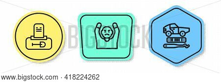 Set Line Grave With Tombstone, Thief Surrendering Hands Up And Car Theft. Colored Shapes. Vector