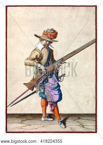 A soldier, full-length, to the right, holding a musket (a type of firearm) with his left hand. With the thumb and middle finger of his right hand he gives the burning fuse on the cock