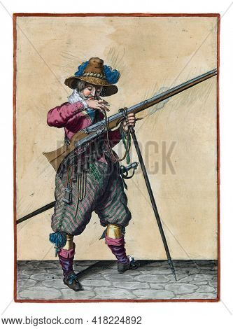 A soldier on guard, full-length, to the right, holding a musket (a type of firearm) with his left hand by the fork of the furket (musket fork) on which the barrel rests