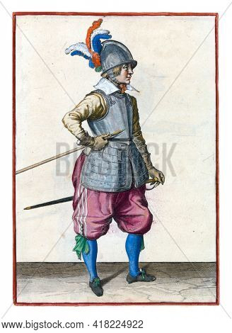 A soldier, full-length, to the right, carrying his spear (lance) with his right hand by his right side, the point tilted upwards and close to his stomach