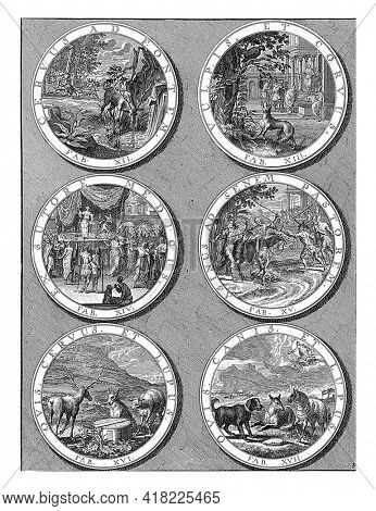 Six medallions with fables; fable XII the deer at the fountain, fable XIII the fox and the raven, fable XIV the shoemaker pretending to be a doctor.