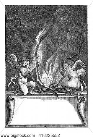 Two angels kneel on either side of the fire in which the host floats intact. Below is a cartouche with an engraved six-line verse in Latin.