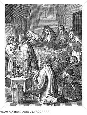 The priest administers to the dying person in bed the sacrament of the dying. Spectators kneel around the bed, on the left a table with burning candles.