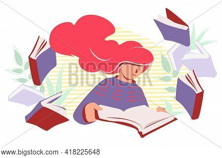 Woman Read Books Vector Flat Illustration. Female Student Studying Isolated On White Background. Per