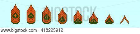 Set Of Marine Corps Rank Cartoon Icon Design Template With Various Models. Modern Vector Illustratio