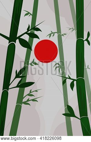 An Image Of Bamboo Trunks With Leaves On A Gray Foggy Background. Vector Illustration.