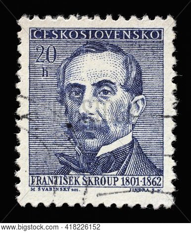ZAGREB, CROATIA - SEPTEMBER 18, 2014: Stamp printed in Czechoslovakia shows a portrait of Frantisek Skroup (1801-1862), Anniversary cultural figures series, circa 1962