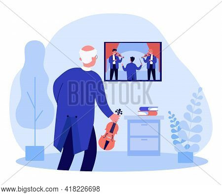 Old Violinist Watching Musical Performance On Tv. Elder With Violin, Musicians Playing Instruments F