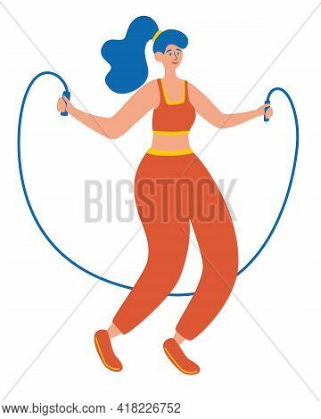 Woman Doing Exercises With Jumping Rope. Cardio Exercises. Girl Training Workout Weight Loss Concept