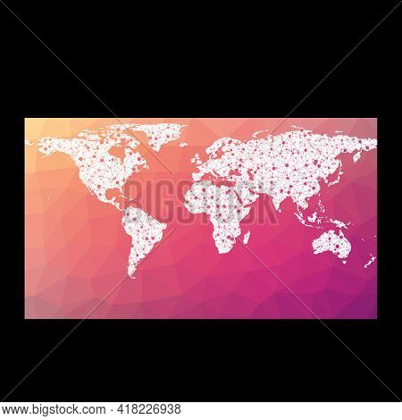 World Network Map. Patterson Cylindrical Projection. Wired Globe In Patterson Projection On Geometri