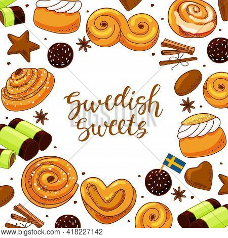 Traditional Swedish Sweets Set. Vector Illustration In The Cartoon Style.