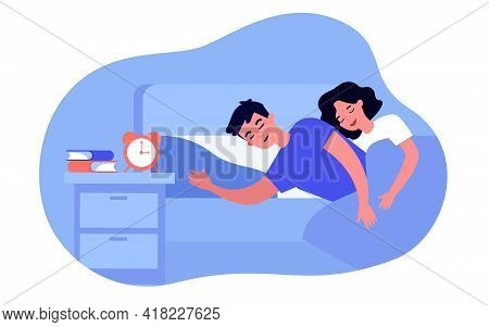 Married Couple Sleeping In Bed. Wife Hugging Husband, Alarm Clock On Bedside Table Flat Vector Illus