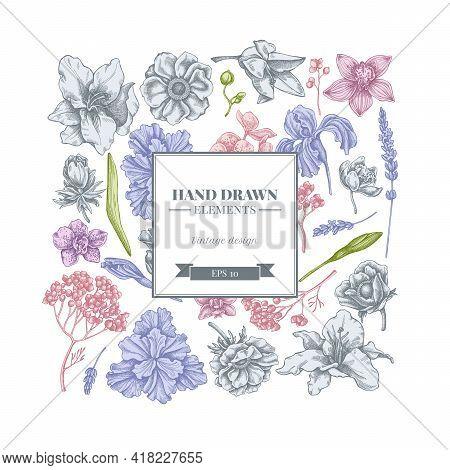 Square Floral Design With Pastel Anemone, Lavender, Rosemary Everlasting, Phalaenopsis, Lily, Iris S