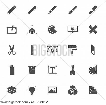 Art And Design Silhouette Vector Icons Isolated On White. Hotel Icon Set For Web, Mobile Apps, Ui De