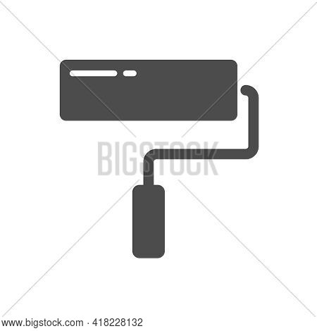 Paint Roller Vector Icon Isolated On White. Paint Roller Silhouette Icon Sign For Web, Mobile Apps,