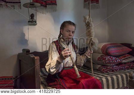 Salaj,transylvania,romania-may 14, 2018: Beautiful Young Girl In Traditional Romanian Folk Costume S