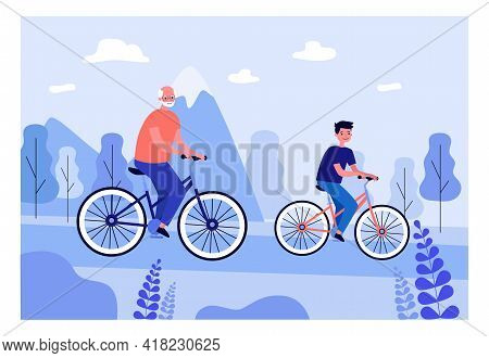 Boy And Grandfather Cycling Together. Old Man And Grandson Riding Bicycles In Summer Flat Vector Ill