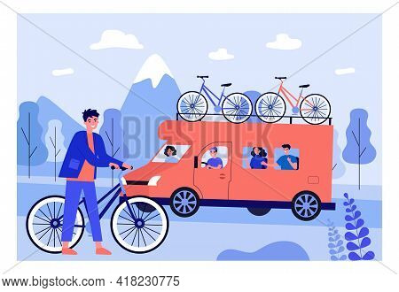 Family Going On Trip Together. Son With Bicycle, Bikes On Top Of Van, Father Driving Flat Vector Ill
