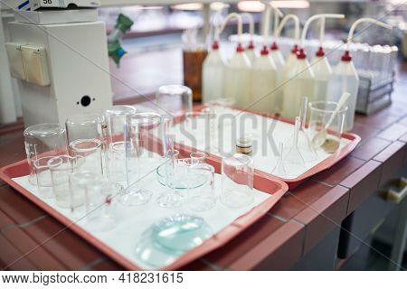 Lab equipment in a sterile environment of the laboratory. Chemistry, lab, apparatus