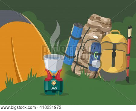 Forest Camping Site With Equipment Flat Vector Illustration. Camping Stove Heating Water, Gas Contai