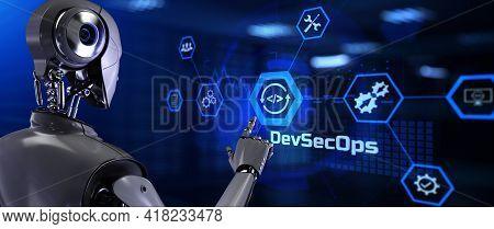 Devsecops Programming Software Development Concept. Robot Pressing Button On Screen 3d Render