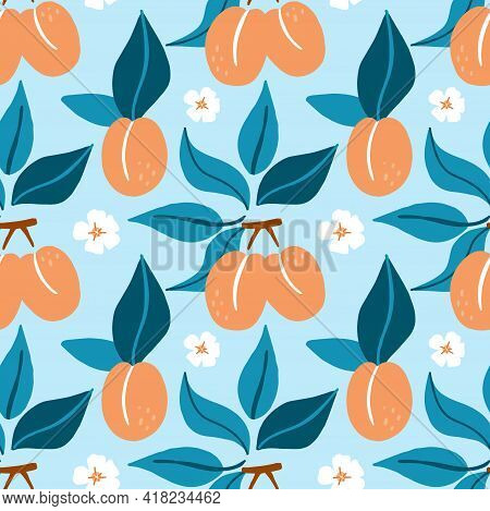 Apricot Seamless Pattern. Exotic Tropical Peaches Or Apricots Fresh Fruit On Blue Background. Whole