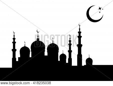Ramadan Kareem Banner Card Template. Islamic Mosque Silhouette Graphic Design, Crescent Moon Sky, Mu