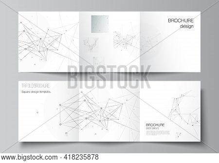 Vector Layout Of Square Covers Templates For Trifold Brochure, Flyer, Cover Design, Book Design, Bro