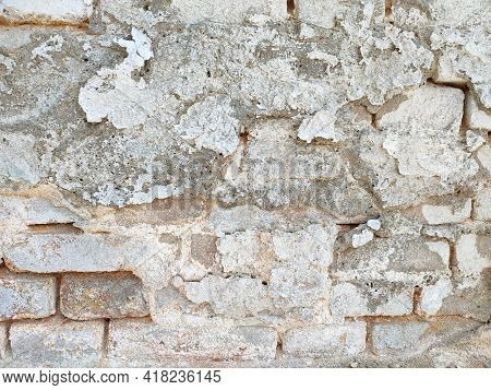Vintage Brick Wall With Peeled Damaged Plaster, Red And White Stonewall Background