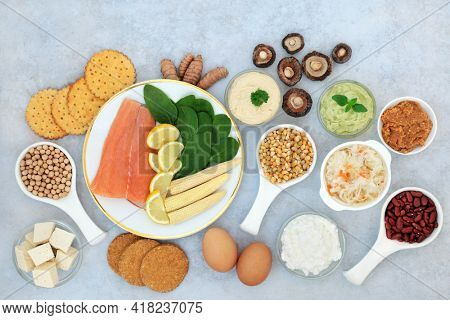 Health food collection to combat bipolar disorder and manic depression with foods high in omega 3, protein, vitamins, selenium, magnesium, serotonin and tryptophan. Flat lay.