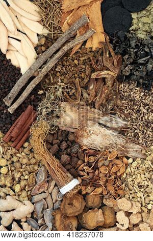 Traditional Chinese fundamental herb and spice selection most frequently used in alternative herbal medicine treatments. Top view.