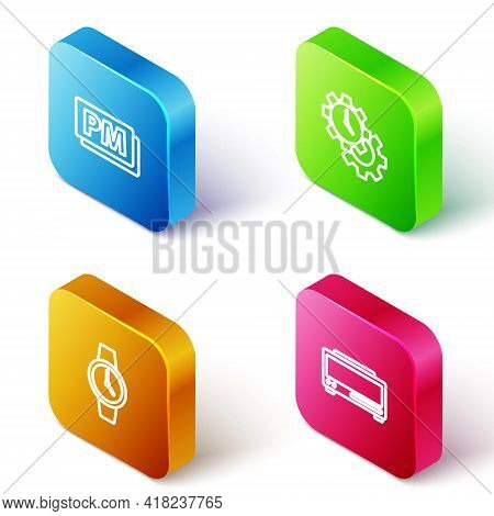 Set Isometric Line Clock Pm, Time Management, Wrist Watch And Digital Alarm Clock Icon. Vector