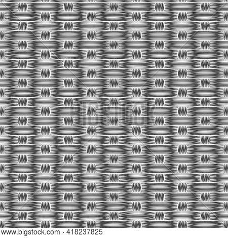 Seamless Black And White Pattern With Rug Mat. Vector Background.