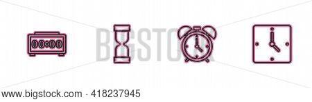 Set Line Digital Alarm Clock, Alarm, Old Hourglass And Clock Icon. Vector