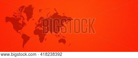 World Map Isolated On Red Wall Background. Horizontal Banner
