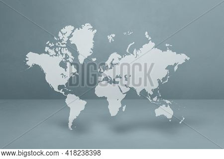 World Map Isolated On Grey Wall Background. 3d Illustration
