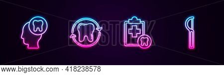 Set Line Human Head With Tooth, Tooth Whitening, Dental Card And Floss. Glowing Neon Icon. Vector