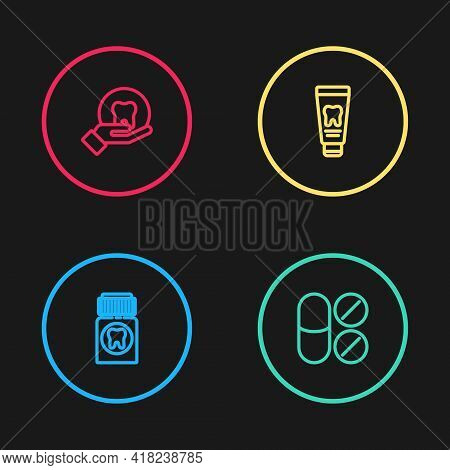 Set Line Painkiller Tablet, , Tube Of Toothpaste And Tooth Icon. Vector