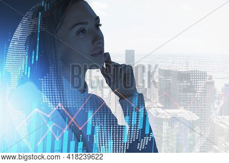 Office Woman Standing Pensive, Skyscrapers And Cityscape, Stock Market Lines Graph Changes, Double E