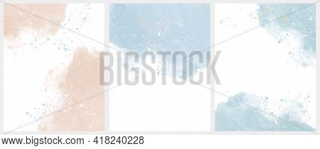 Set Of 3 Delicate Abstract Watercolor Style Vector Layouts. Light Beige And Blue Paint Stains On A W