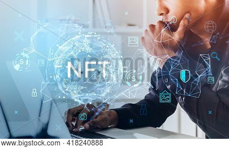 Black Office Man Hand On Keyboard Of Laptop, Non-fungible Token Hud Double Exposure, Nft With Earth
