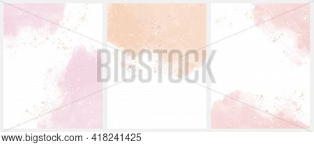 Set Of 3 Delicate Abstract Watercolor Style Vector Layouts. Light Pink, Light Red And Blush Paint St