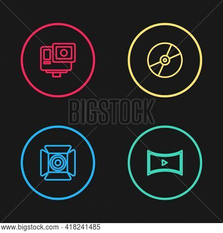 Set Line Movie Spotlight, Online Play Video, Cd Or Dvd Disk And Action Extreme Camera Icon. Vector
