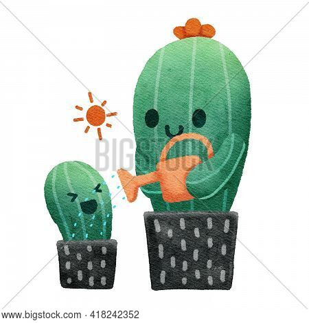Cactus Mom Watering Her Child, Watercolor Painting Style