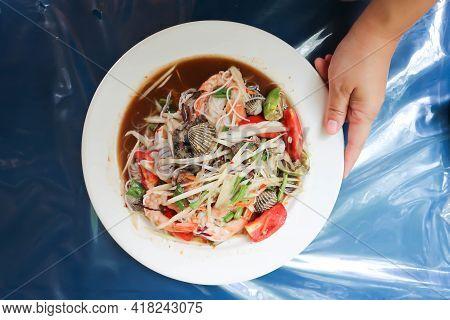 Papaya Salad, Som Tam Or Spicy Shrimp And Shell Salad Or Lao Food Or Thai Food