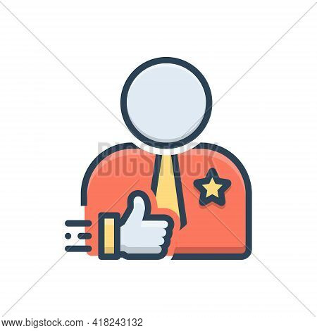 Color Illustration Icon For Credible Reliable Dependable Authentic Credibility Trust