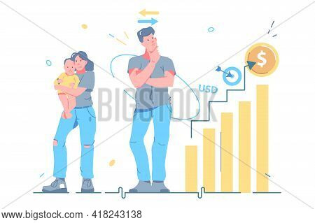 Man Choosing Between Career Or Family Vector Illustration. Career Versus Family, Life Path Flat Styl