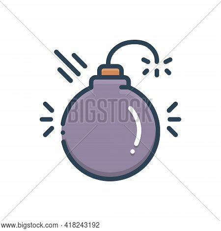 Color Illustration Icon For Disruptive Harmful Detrimental Noxious Deleterious Injurious Danger Blas