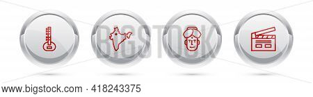 Set Line Sitar, India Map, Indian Man And Bollywood Indian Cinema. Silver Circle Button. Vector