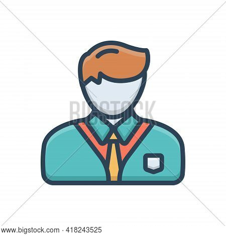 Color Illustration Icon For Professional Professed Occupational  Entrepreneur Business-man